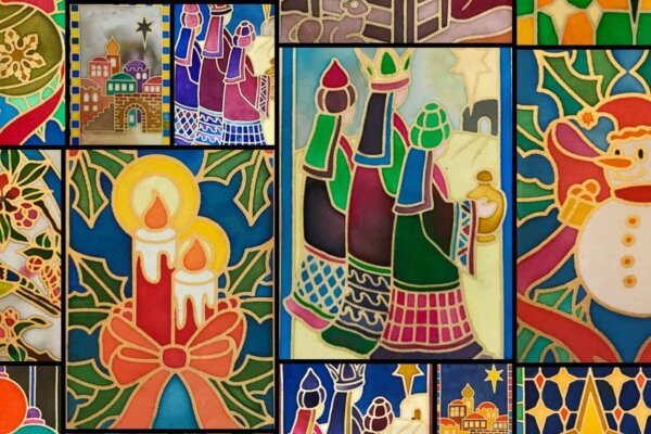 A collage of different traditional Christmas card designs