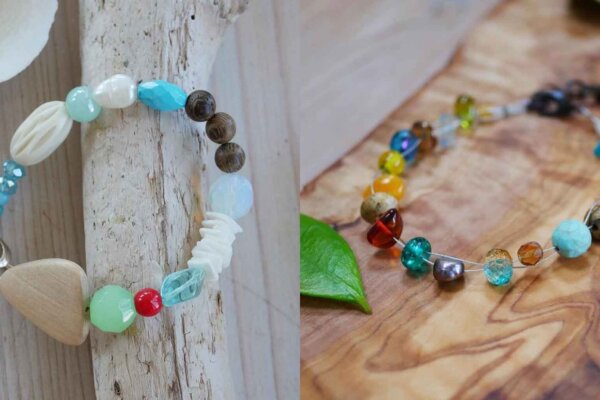 A panel of two images of bracelets using different colour and sized beads.