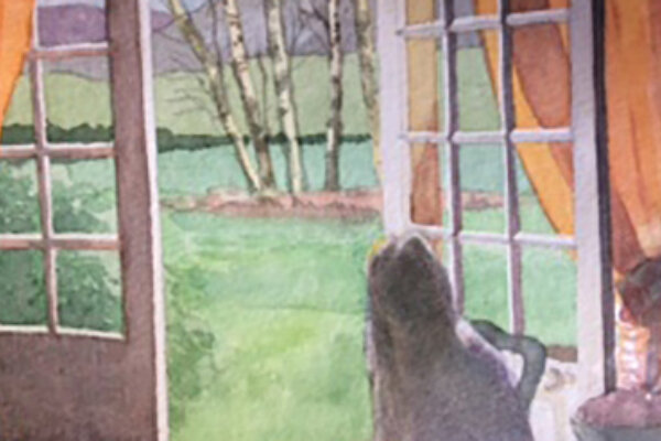 A watercolour painting of a girl looking out into some gardens from an open door.
