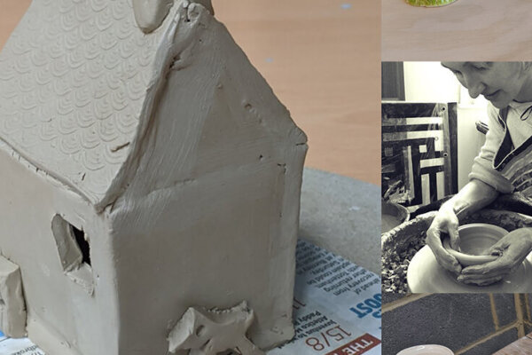 A house sculpture made out of clay sits on the left of the image. On the right is a photo of practitioner Cait Gould making a clay bowl on a spinning wheel.
