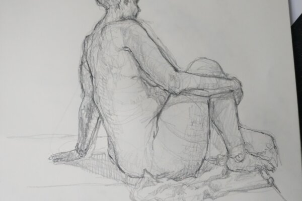 A pencil sketch of a women seated side on, facing away and resting on one arm while the other supports her bent knee.