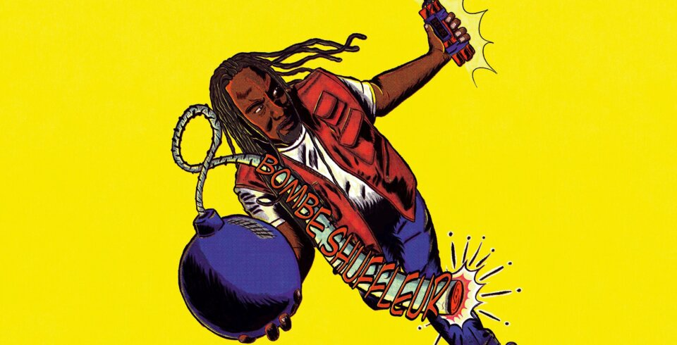 Cartoon image of Reginald D Hunter with a bomb with the words 'Bombe Schuffleur' written on it