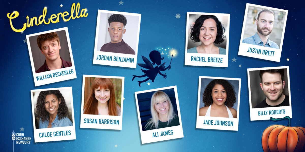 On a background of a blue, night sky, there are close up pictures showing head and shoulders of the 5 female and 4 male cast members of Cinderella.