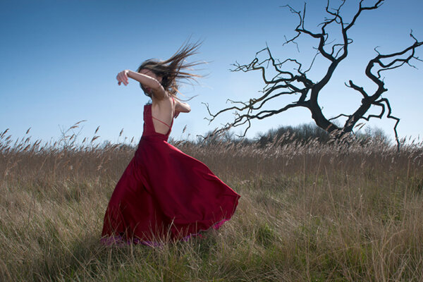 A lady in a red dress dancing in a field with a bare tree in the background.