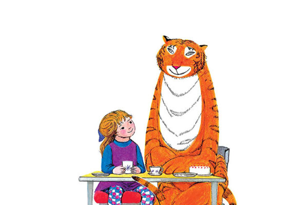 An illustration of a little girl with a purple dress and patterned tights sitting next to a large orange tiger. behind a table with tea food and drink on it.