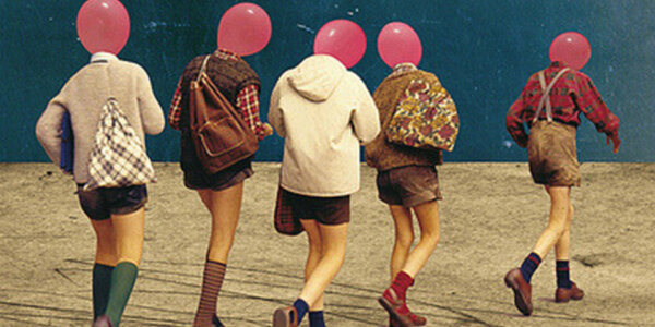 Artwork of five people in retro clothing, with red balloons for heads. It looks as though the people are walking on a dry wasteland, with a dark blue night sky behind them.