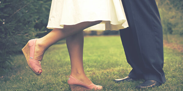 Photo of two people's feet in a dance pose.