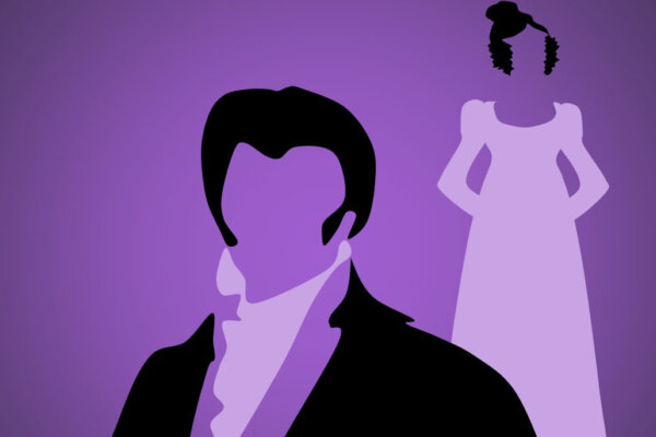 An illustration of a male silhouette and a female silhouette behind him. The are both wearing formal period style outfits, and the background of the illustration is purple.