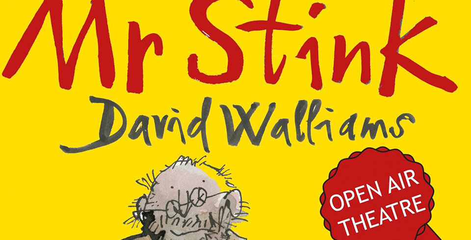 A yellow graphic with the words Mr Stink in read font and the name David Walliams in grey font.