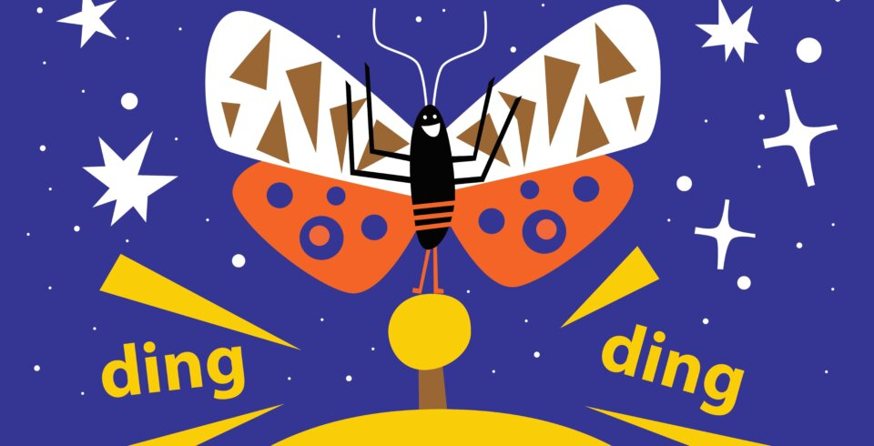 a cartoon image of orange and white butterfly on a hotel bell with the words 'ding' on the left and right