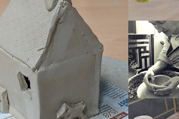 On the left is a small house sculpture that has been made out of clay. On the right is a photograph of practitioner Cait Gould making a clay bowl, using a spinning wheel.