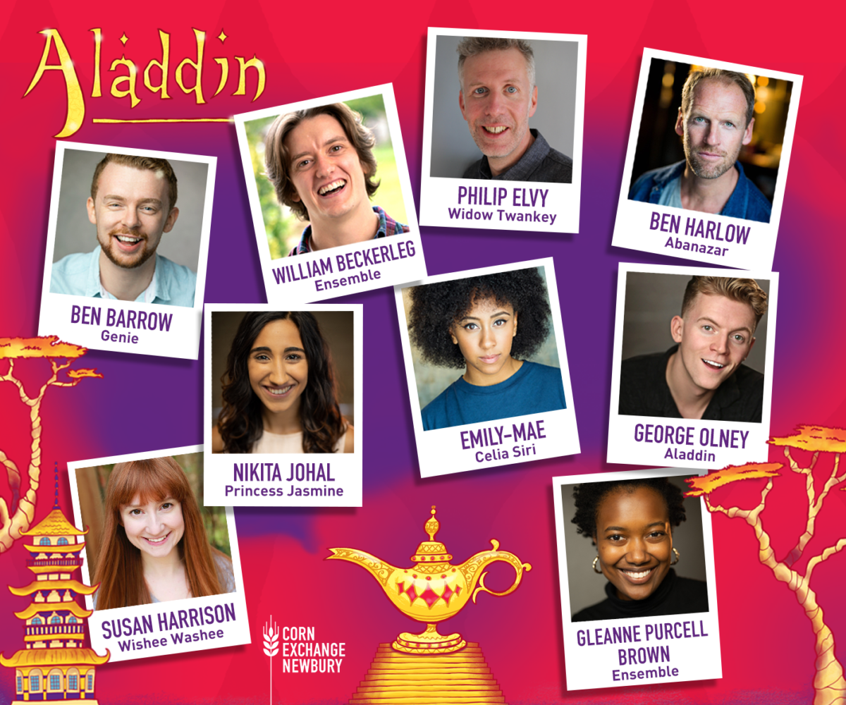 Close up photos of the cast members' faces, smiling - Ben Barrow, William Beckerleg, Philip Elvy, Ben Harlow, Susan Harrison, Nikita Johal, Emily-Mae, George Olney and Gleanne Purcell Brown - on a red background with golden trees, Chinese-style buildings and a golden lamp.