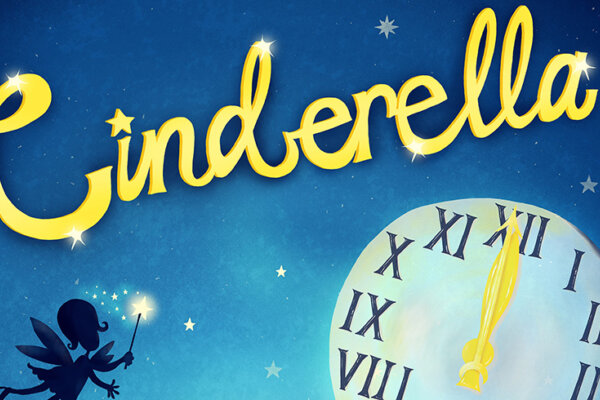 An illustration with a blue night sky as the background. At the top is the word Cinderella in a curly gold font. Underneath the text is a large clock with roman numerals, striking midnight, and the silhouette of a fairy.