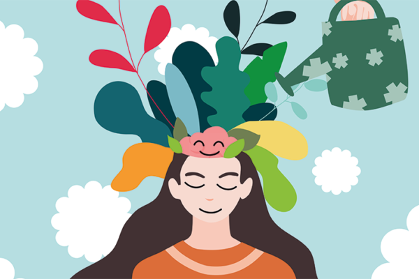 An illustration on a turquoise background of a young lady with flowers on her head.