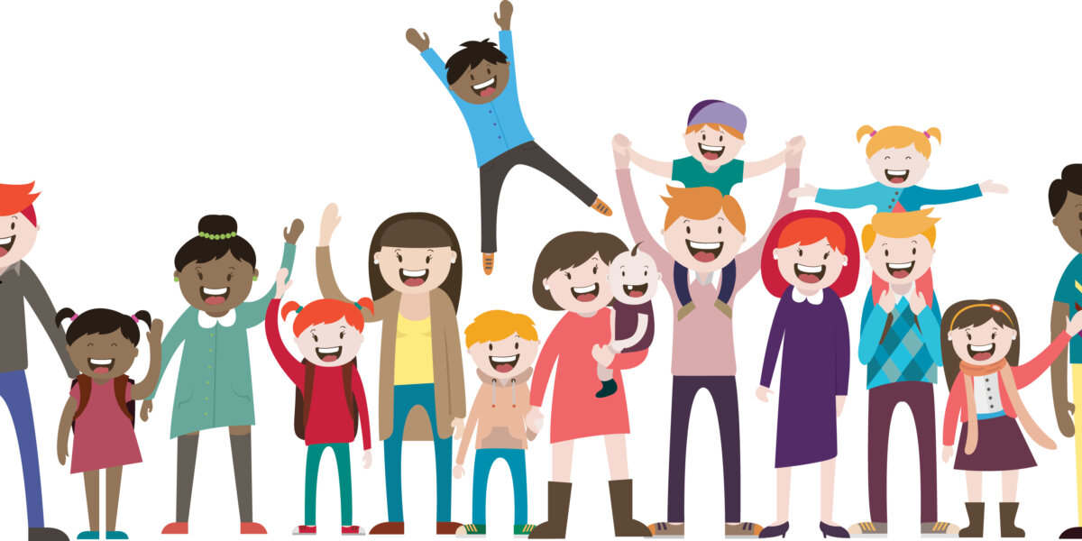 A cartoon-like illustration of a group of about fifteen men, women and children of different races and ages. They are all smiling, some with their hands up in the air in excitement. The background is white.