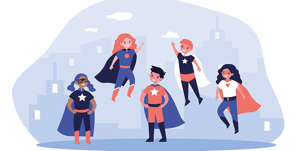 An illustration of five children (boys and girls, of different races) wearing superhero capes and with stars on their t-shirts. Behind them is a light blue background.