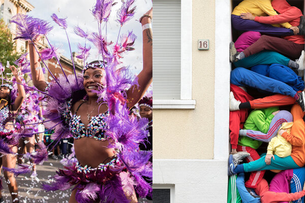 On the left is a photograph of a woman in a carnival style outfit, with purple feathers and an embellished top. She is dancing along the street with another woman behind her. To the right is a separate photo of bodies piled up in multicoloured clothing, in a small doorway.